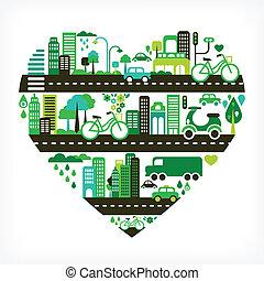 forma corazón, con, verde, ciudad