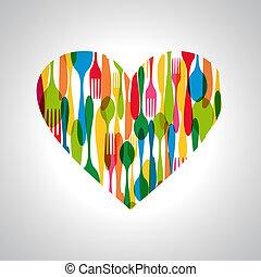 forma corazón, cubiertos, ilustración
