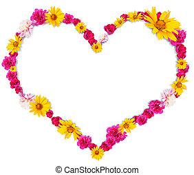 forma corazón, de, flores