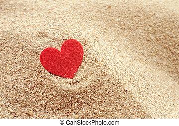 forma corazón, en, arena