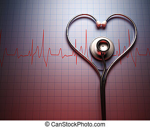 forma corazón, estetoscopio