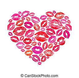 forma corazón, hecho, con, colorido, impresión, besos