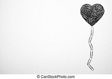 forma corazón, hecho, con, paperclips, blanco, plano de...