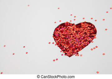 forma corazón, hecho, con, resplandor, blanco, plano de...
