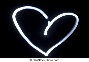 forma corazón, luz, pintura, en, oscuridad