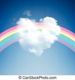 forma corazón, nube, arco irirs