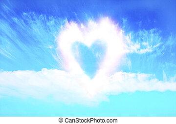 forma corazón, nubes