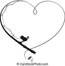 forma, corazón, pesca rod