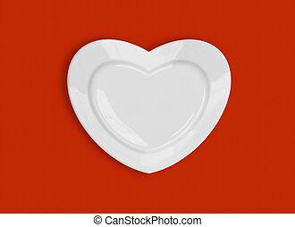 forma corazón, placa, en, fondo rojo