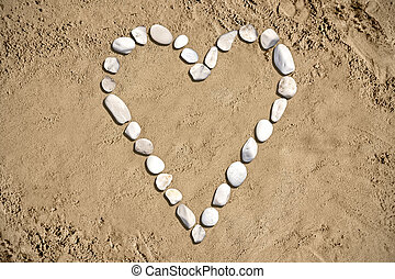 forma corazón, -, playa, arena, piedras
