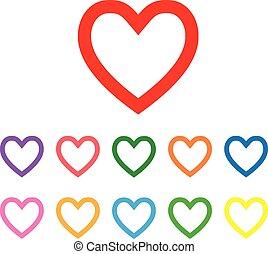 forma corazón, vector, símbolo