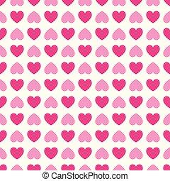 forma corazón, vector, seamless, pattern., rosa, y, blanco, colores