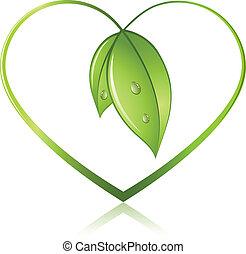 forma corazón, verde, brotes