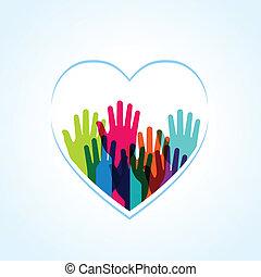 forma, corazones, colores, arriba, manos