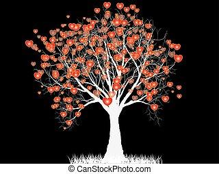 forma cuore, amore, albero