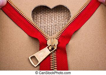 forma cuore, carta, chiusura lampo, buco