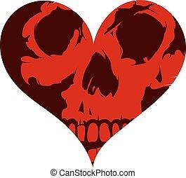 forma cuore, concetto, cranio, tatuaggio