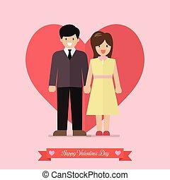 forma, cuore, coppia, giovani persone