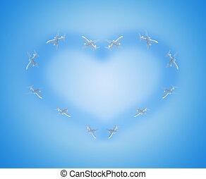 forma cuore, da, il, aeroplani, in, il, cielo blu