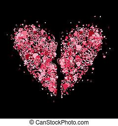 forma cuore, disegno, tuo, rotto