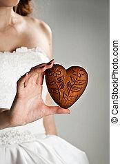 forma cuore, donna, giovane, mani