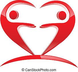 forma cuore, lavoro squadra, logotipo