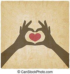forma cuore, mani, fondo, vendemmia