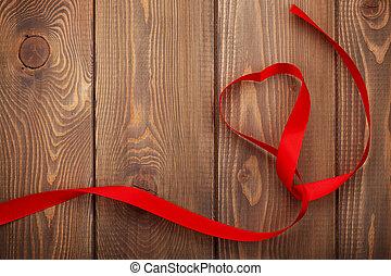 forma cuore, nastro, giorno valentines, fondo