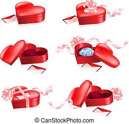 forma cuore, set, scatole, rosso