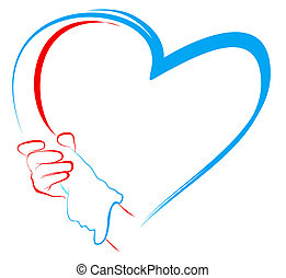 forma cuore, tenere mani