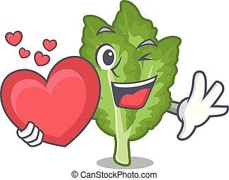 forma cuore, verde, senape, cartone animato