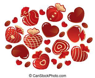 forma, cuori, cioccolati