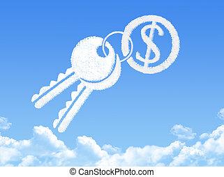 forma, dólar, tecla, nuvem