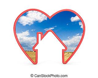 forma, de, coração, com, casa, e, a, paisagem, dentro