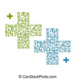 forma de cross, con, iconos médicos, para, su, diseño