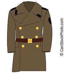 forma, dibujo, militar, sobretodo, soviético, ejército