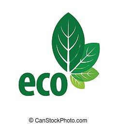 forma, eco, foglie, vettore, verde, logotipo