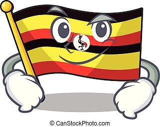 forma, el smirking, bandera, uganda, mascota