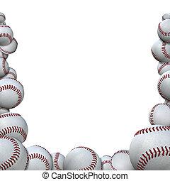 forma, estação, baseballs, esportes, basebol, muitos, borda