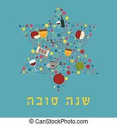forma, estrella, texto, diseño, feriado, iconos, conjunto, plano, rosh hashanah, david, hebreo