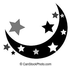forma, estrellas, luna