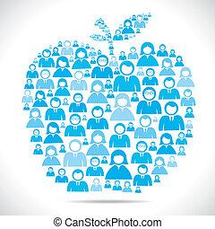 forma, fazer, grupo, maçã, pessoas