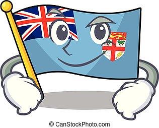 forma, fiji, bandera, caricatura, el smirking