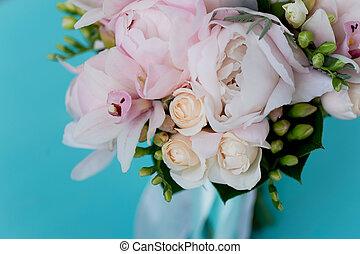 forma, floristry., rosas, macio, buquê casamento, noiva, clássicas, peonies, cor-de-rosa, branca