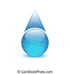 forma, globo, ambiental, água, logotipo, gotas