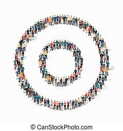 forma, grupo, círculo, pessoas