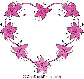 forma, heart., floreale, cornice