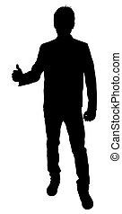 forma, homem, mostrando, cima, polegares