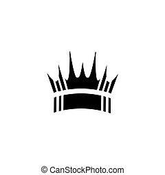 forma, icono, corona, logotipo, simple, vector