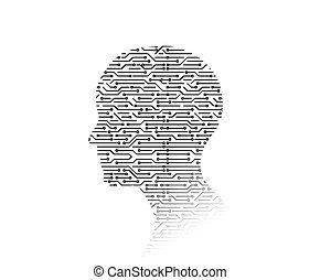forma., ilustração, experiência., tábua, circuito, alta tecnologia, homem, tecnologia, 3d